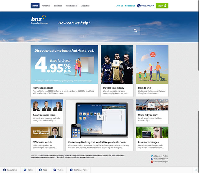 Bank of New Zealand website design