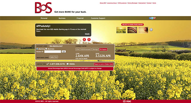 bankwithbos homepage design