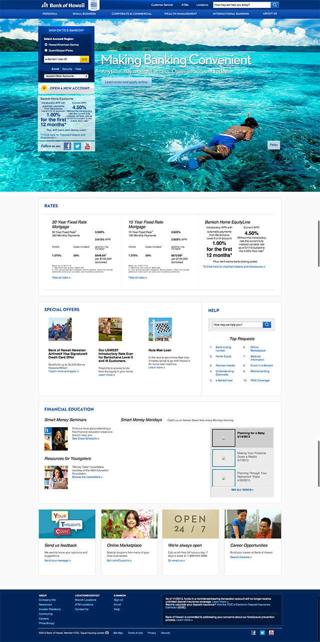 Bank of Hawaii homepage design