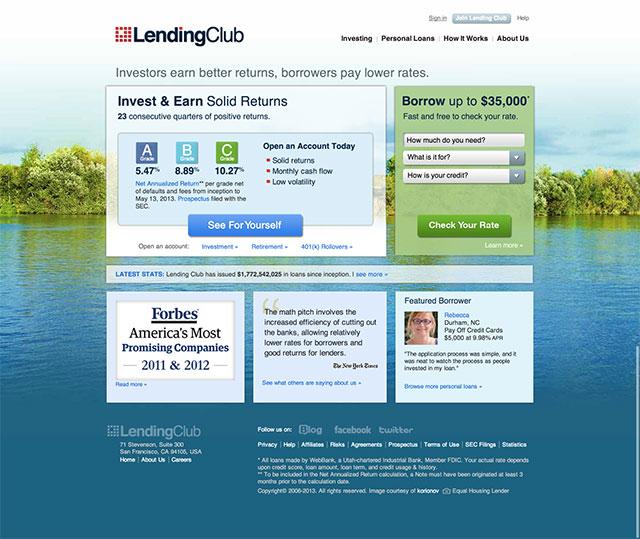 lendingclub.com homepage design