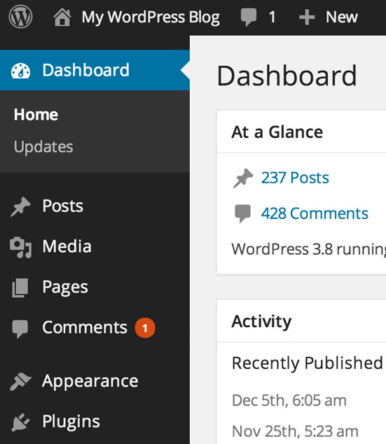 A glance at a WordPress dashboard