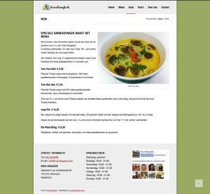 krua bangkok actie page design
