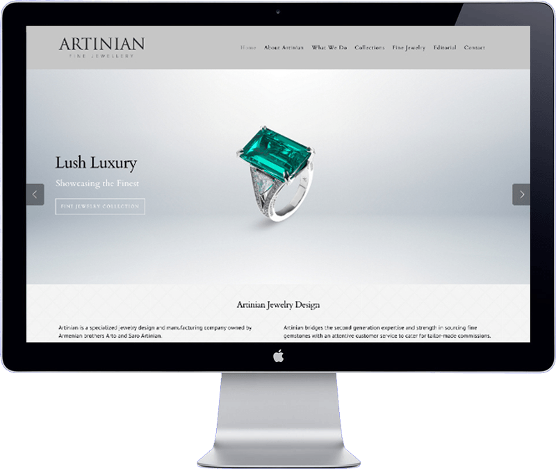 artinian jewelry website design - bangkok thailand