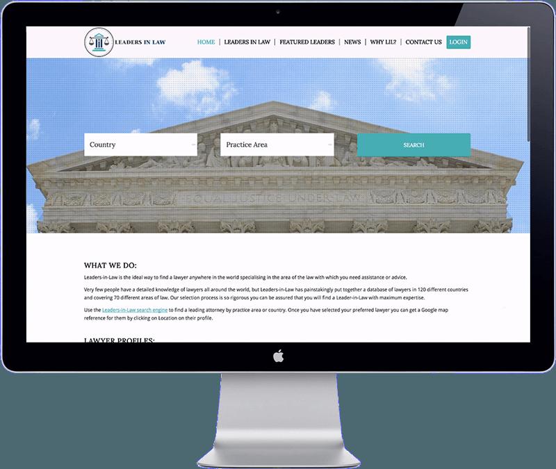 leaders in law - lawyer directory website development