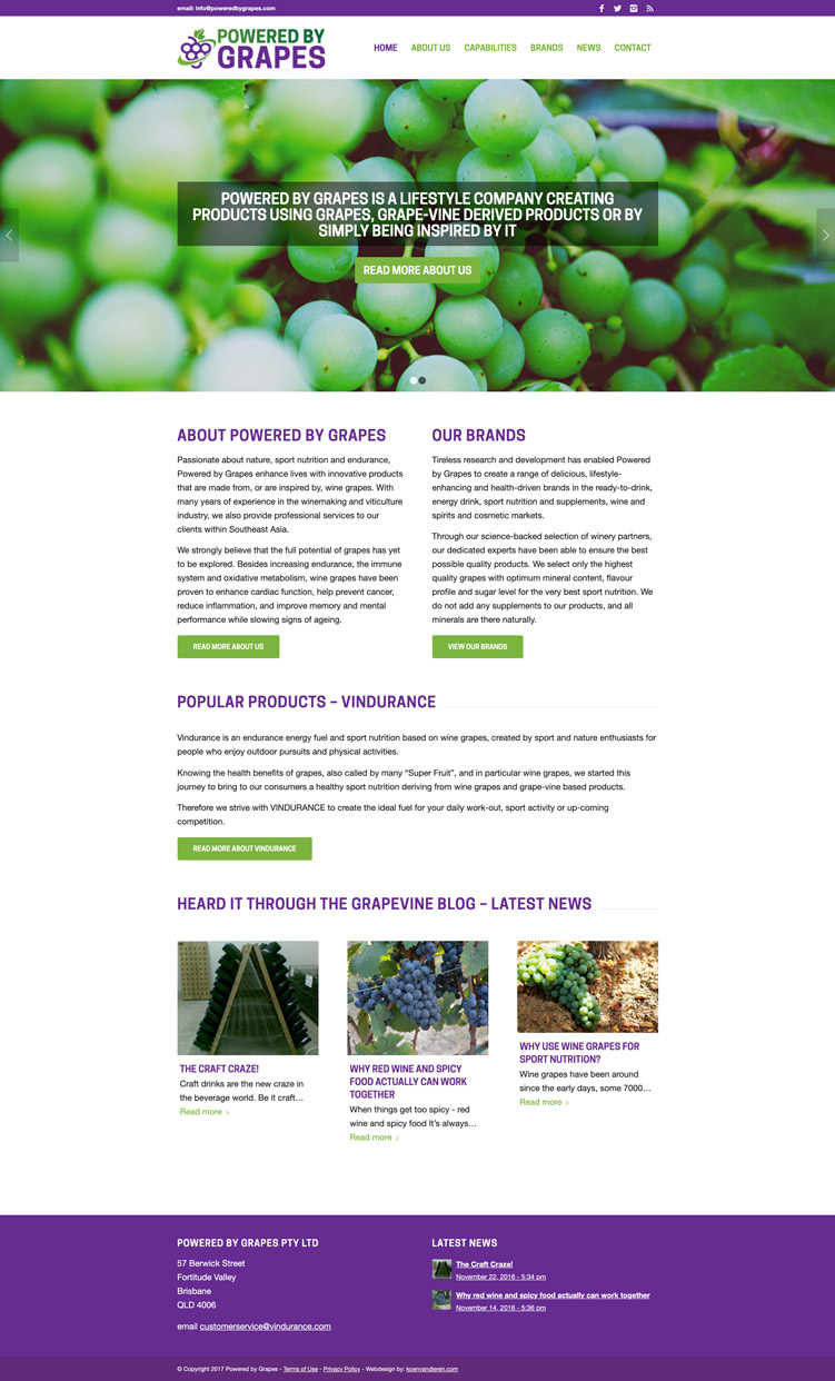 custom website design for wine grapes company