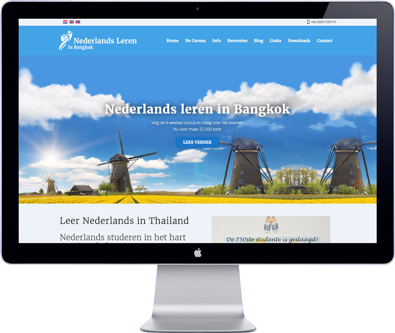 the website design of learning dutch in bangkok school