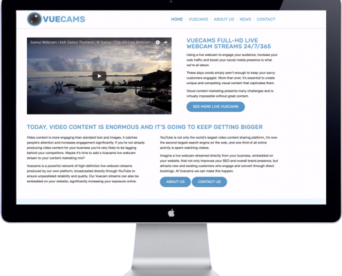 vuecams website design