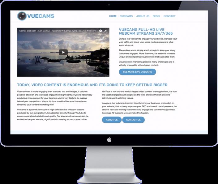 vuecams website design