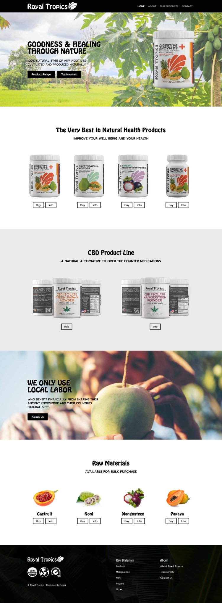 ecommerce website tropical fruit